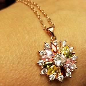 Jewelry - Rose gold plated necklace-floral design!